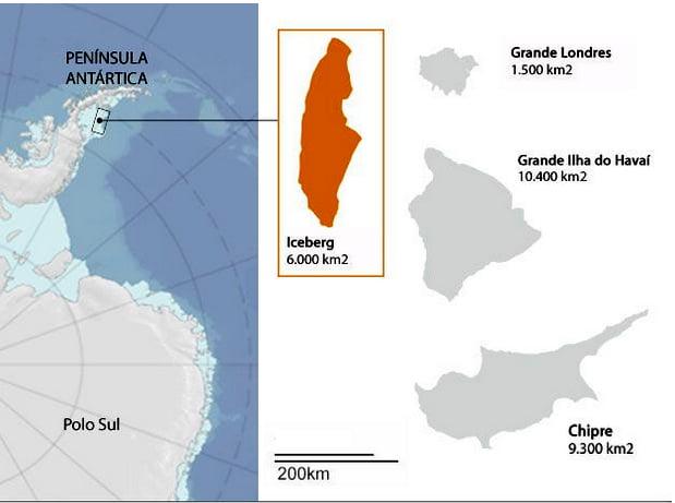 Iceberg maior do mundo, ilustração do Iceberg maior do mundo que se soltou da antártica