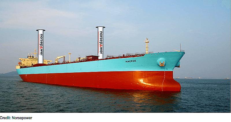 Navio movido a energia eólica, imagem de petroleiro movido a energia eólica