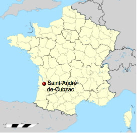 Jacques Cousteau, um surpreendente inventor, mapa mostrando a cidade francesa Saint-André-de-Cubzac