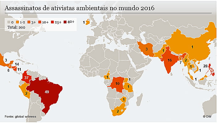 Ambientalistas do Brasil, mapa mundi da global witness mostra assassinato de ambientalistas no mundo