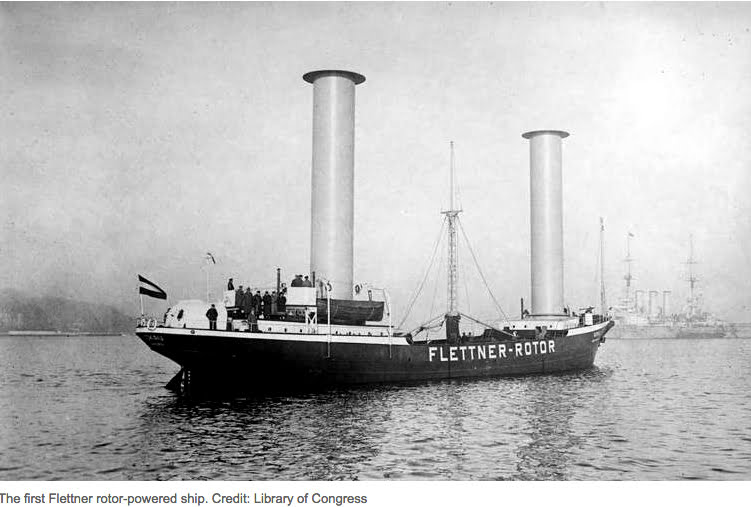 Navio movido a energia eólica, imagem do primeiro navio a usar rotores como velas