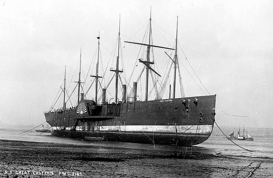 SS Great Eastern, imagem do navio SS Great Eastern no seco