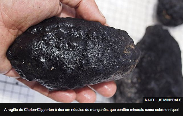 imagem de nódulos de manganês retirado da área Clarion-Clipperton