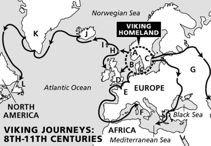 bacalhau, ilustração com rotas das viagens kinkings