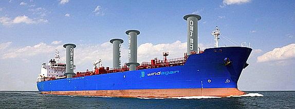 Navio movido a energia eólica, imagem de navio cargueiro com velas do tipo rotos