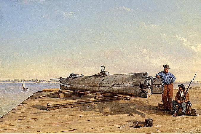 ilustração do submarino CSS Hunley o primeiro a afundar um navio