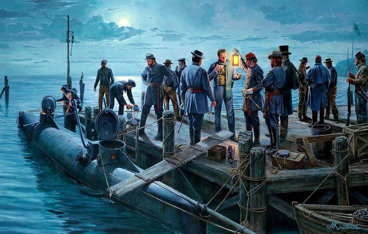 Ilustração do submarino H.L. Hunley amarrado ao cais