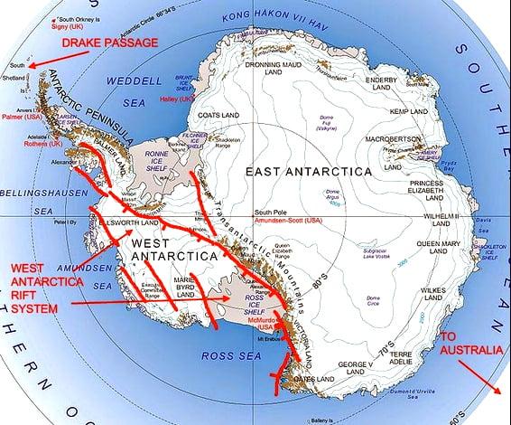 mapa da Antártica com o local onde sestão a maioria dos vulcões do planeta