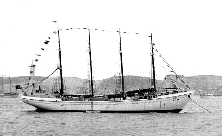 imagem do lugre Avis, bacalhoeiro português que ainda usava a vela como propulsão