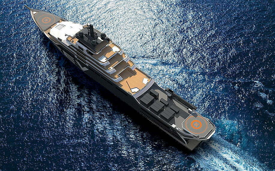 Barco de pesquisa e limpeza, ilustração do navio REV