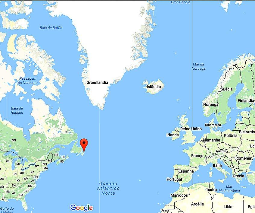 Mapa mostrando o oceano Atlântico Norte