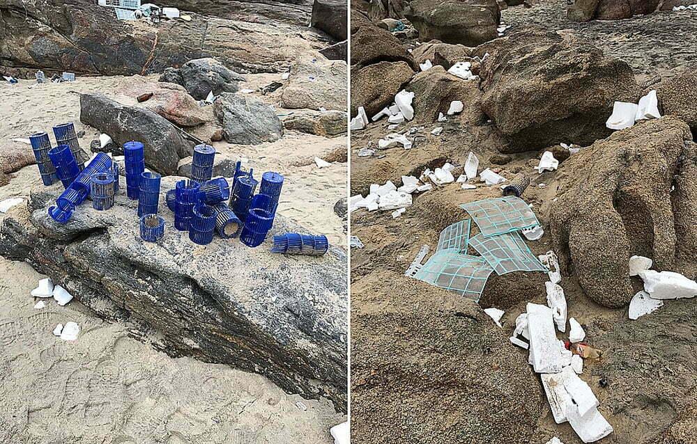 navio derruba contêineres, imagem de resíduos dos contêineres do navio Log in Pantanal nas praias de Santos.