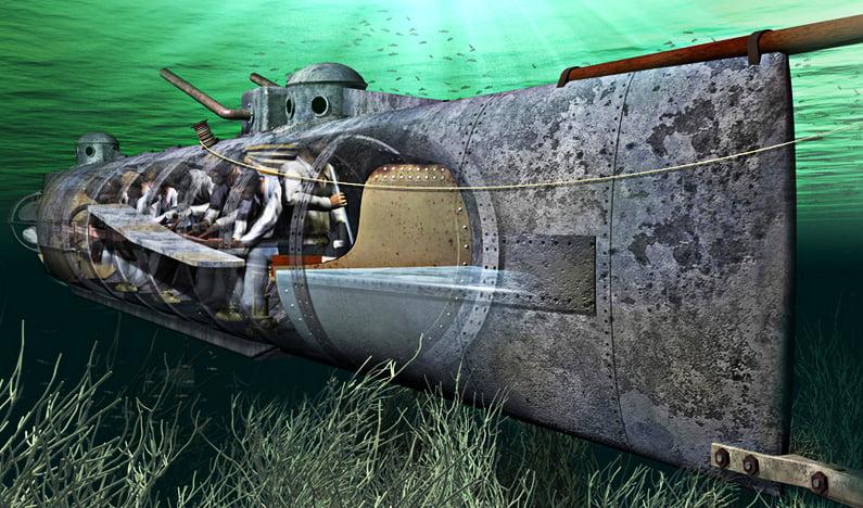 Ilustração do submarino H.L.Hunley o primeiro a afundar um navio