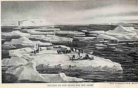 imagem de shackleton e tripulação na banquisa de gelo