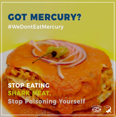 imagem de cartaz informando sobre mercúrio em carne de tubarão