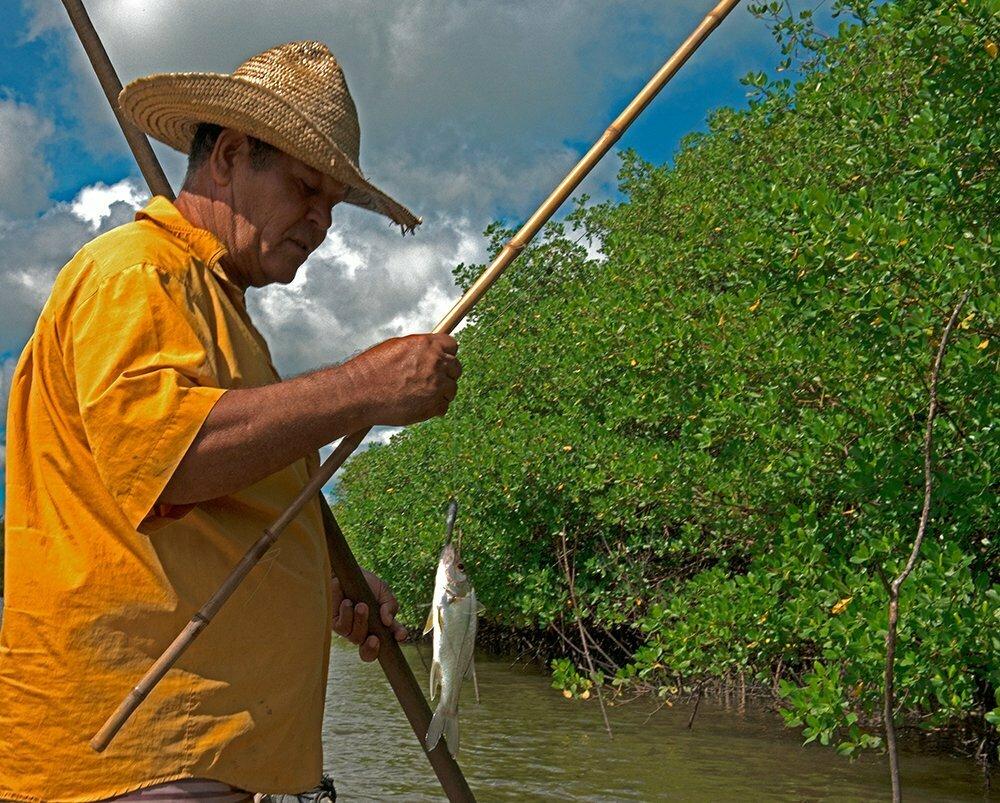 imagem de pescador mostrando o Brasil do mar vazio