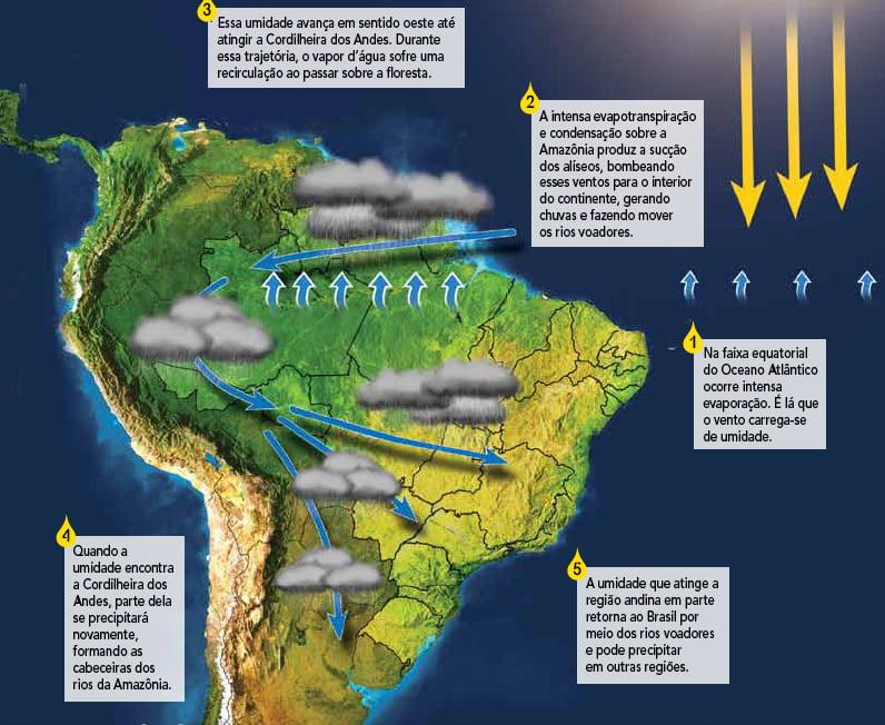 diagrama mostrando a formação de rios voadores na amazônia