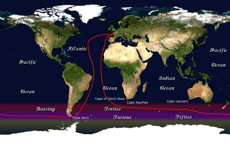 rota da regata Vendé Globe que põe a prova marinheiros para sobreviver no mar