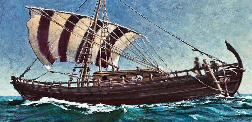 ilustração de navio de carga dos fenícios grandes navegadores