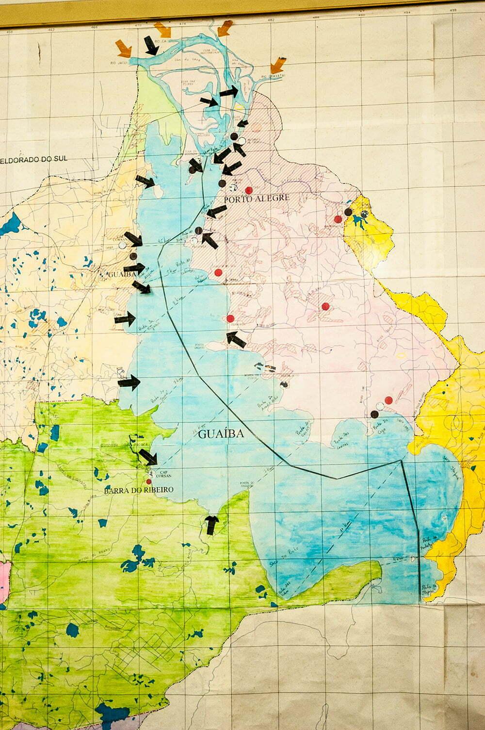 imagem de mapa do Lago Guaíba e Lagoa dos Patos
