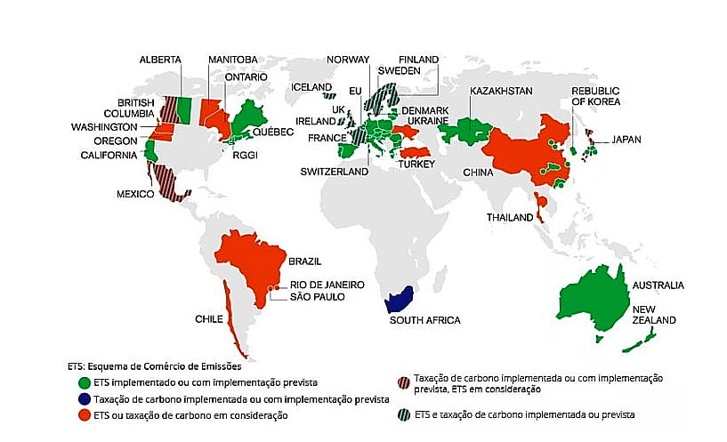 mapa mundi mostrando o mercado de carbono