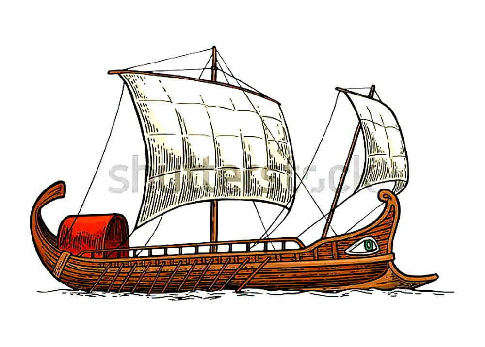ilustração de navio fenício