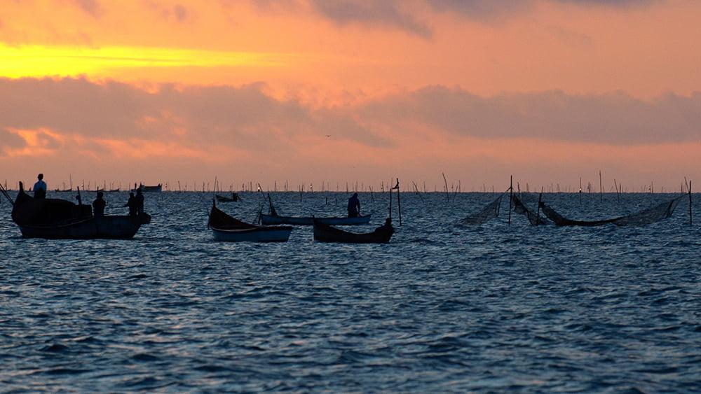 imagem de Pescadores de camarão na Lagoa dos Patos