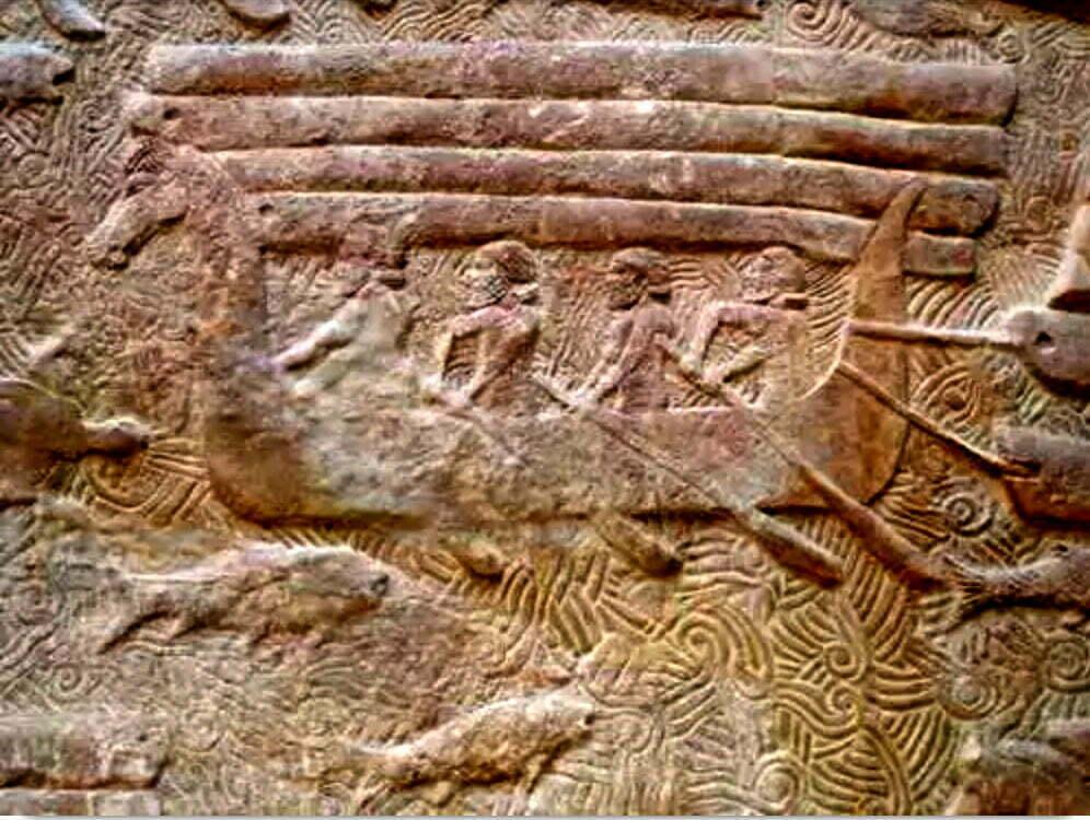 desenho em pedra mostra fenícios navegadores