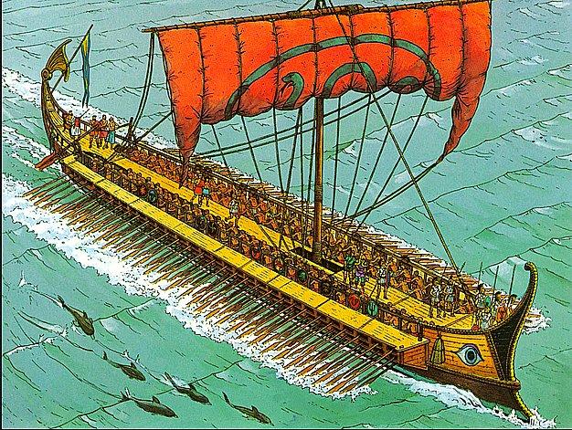 imagem de navio grego trirreme para a série Dez livros náuticos: todo homem/mulher do mar deveria ler