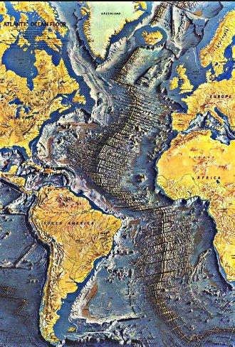 mapa mostrando a Cadeia Dorsal Mesoatlântica
