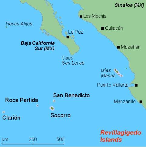 mapa do Parque Nacional do Arquipélago Revillagigedo, México