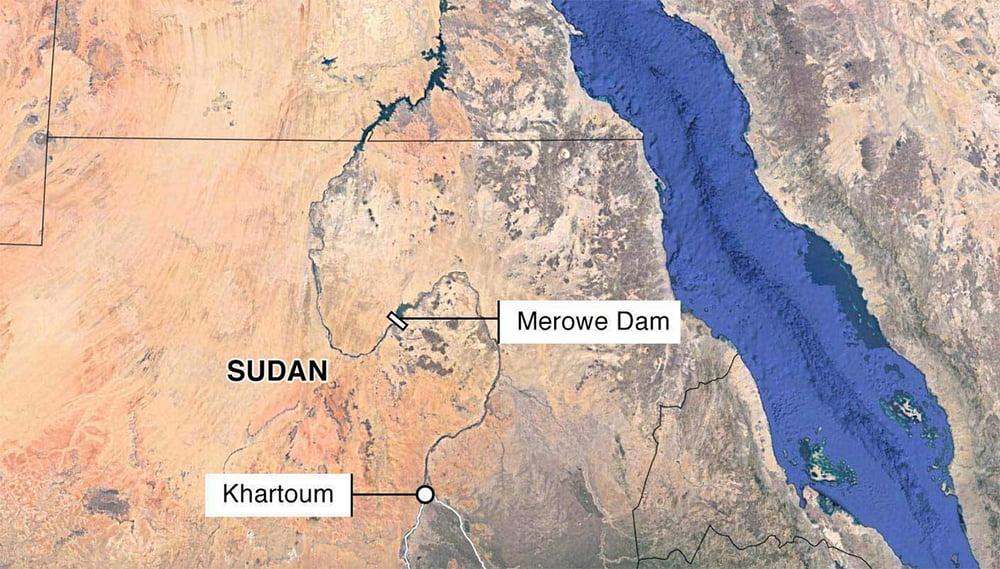 Imagem de mapa do rio Nilo com a barragem Merowe