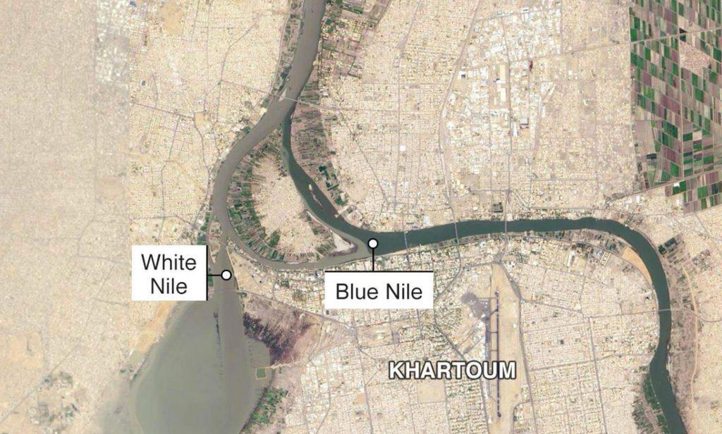 imagem de mapa do rio Nilo em Cartum