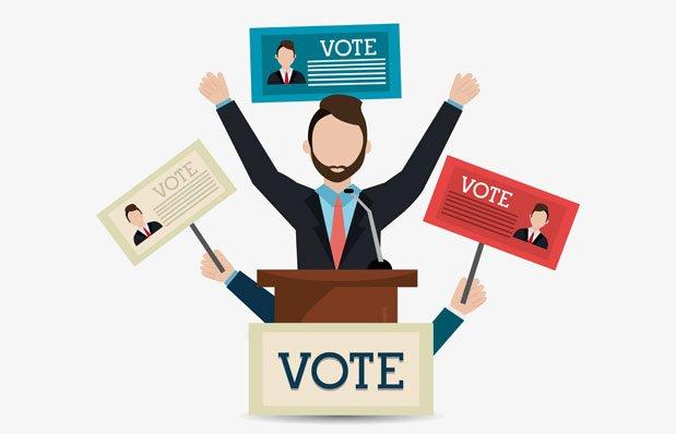Ilustração simulando pedido de votos