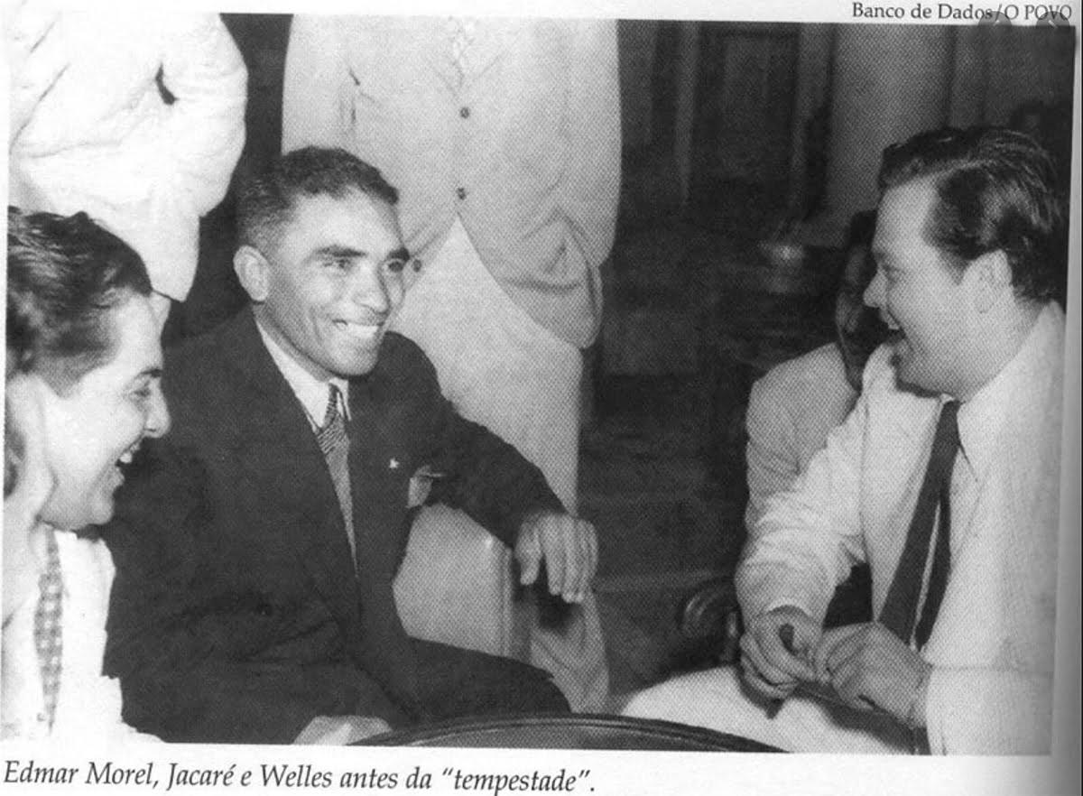imagem do jangadeiro Jacaré e o cineasta Orson Welles