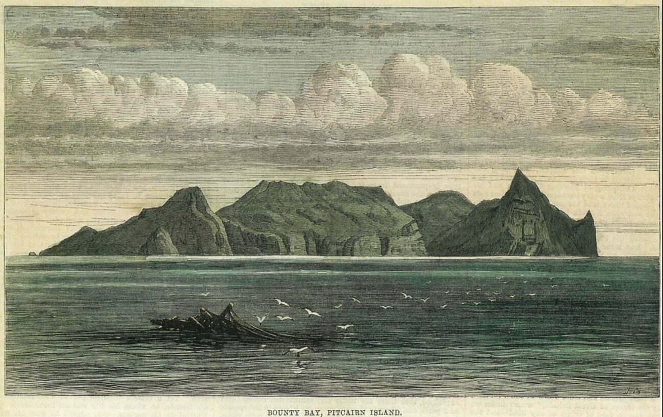 Gravura do afundamento do Bounty em Pitcairn.