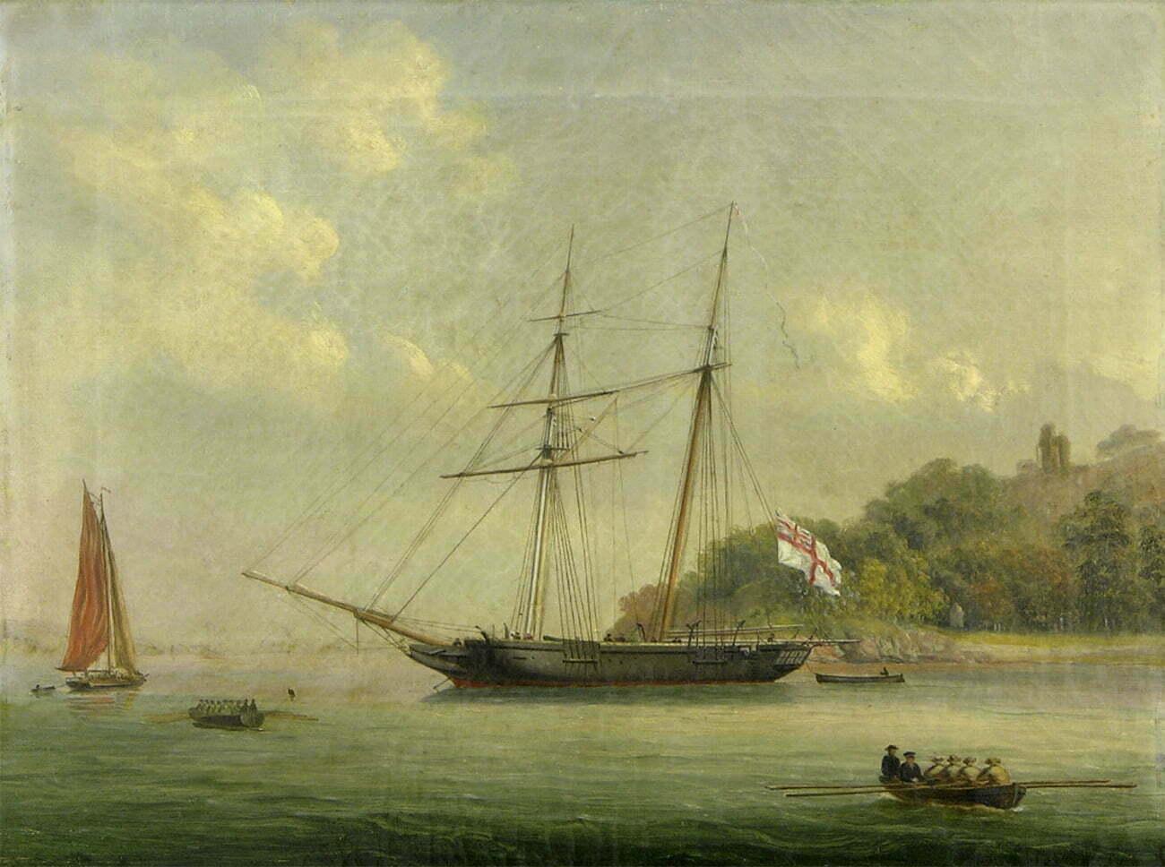 Gravura do HMS Pandora em 1833.