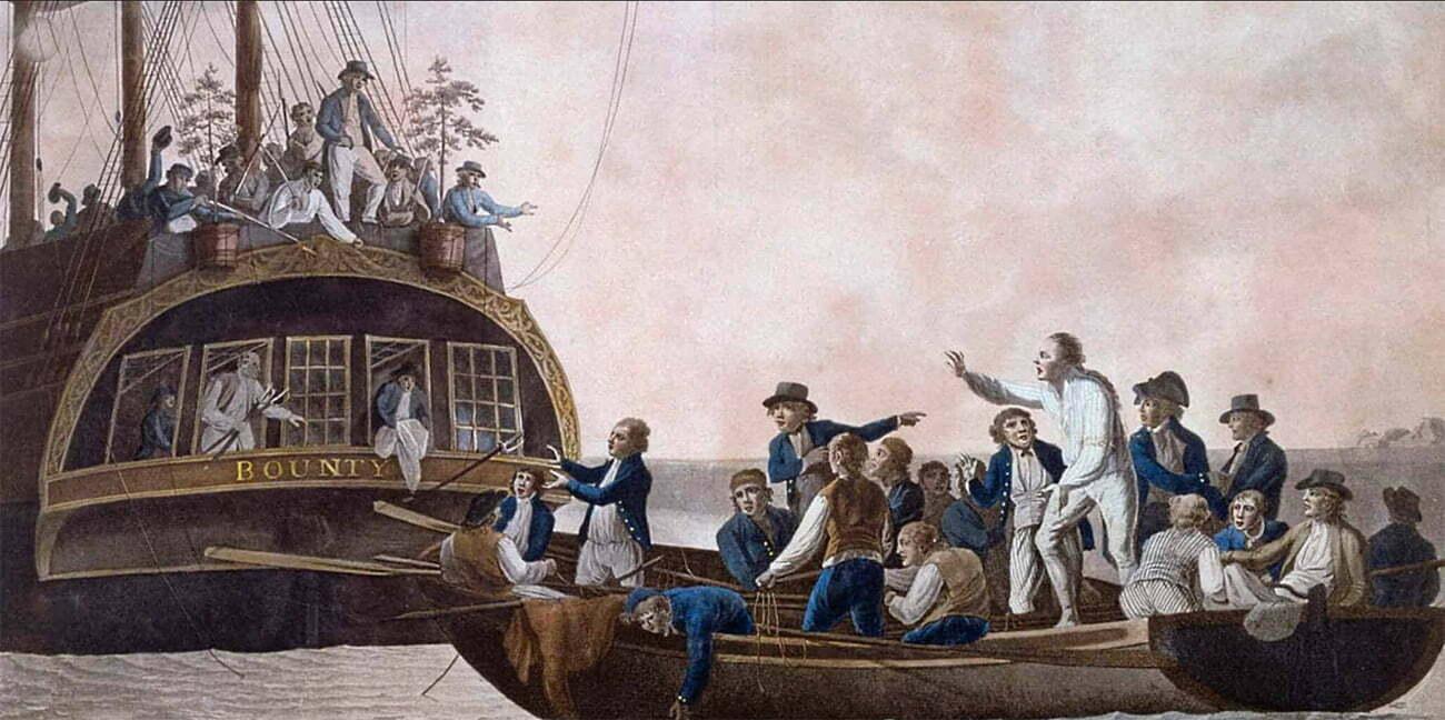 Gravura alusiva ao motim do Bounty.