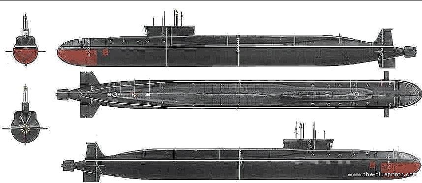 Ilustração de submarino,arino classe Borei