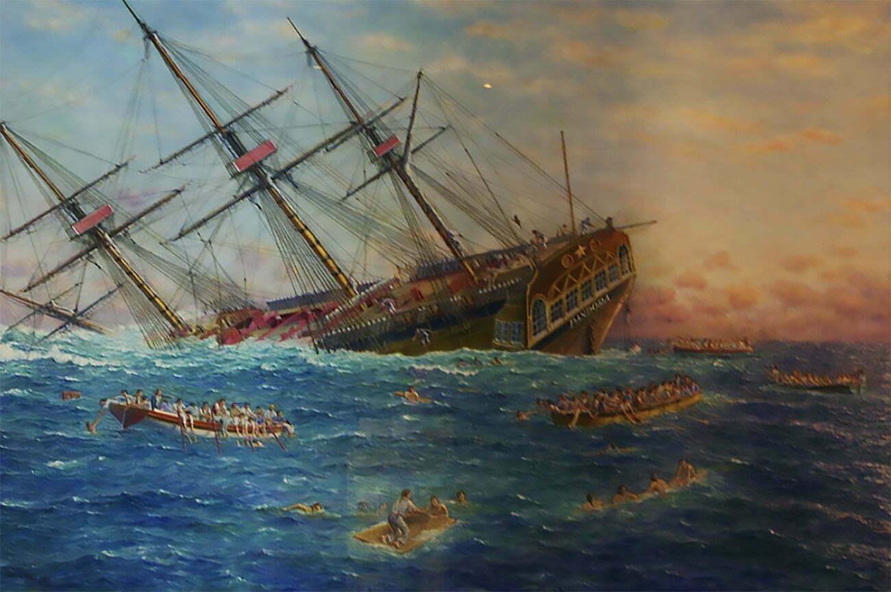 gravura mostre encalhe do HMS Pandora na Grande Barreira de Corais