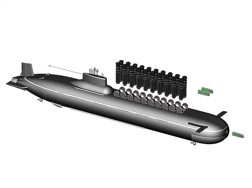 Ilustração de mísseis nos submarinos typhoons