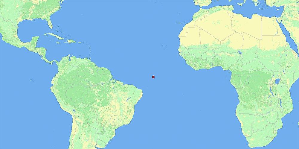 mapa da localização do Arquipélago São Pedro e São Paulo