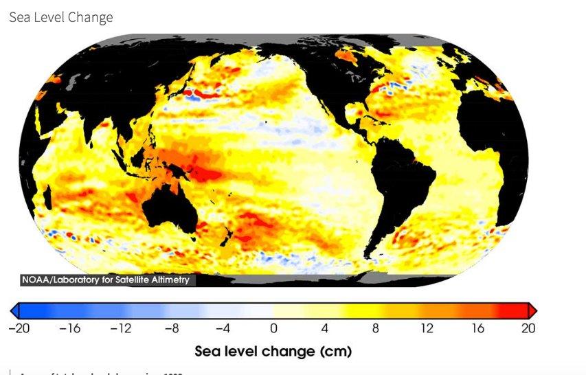 imagem de mapa mundi com o nível dos oceanos