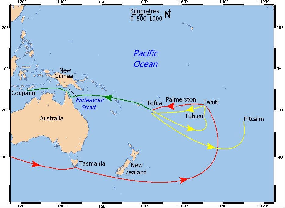 mapa do roteiro de william Bligh depois do motim do Bounty