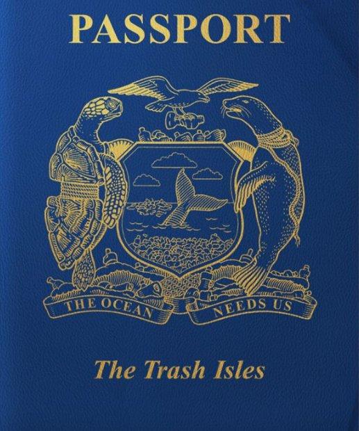 imagem de passaporte do país que tornar uma ilha de lixo num país oficial