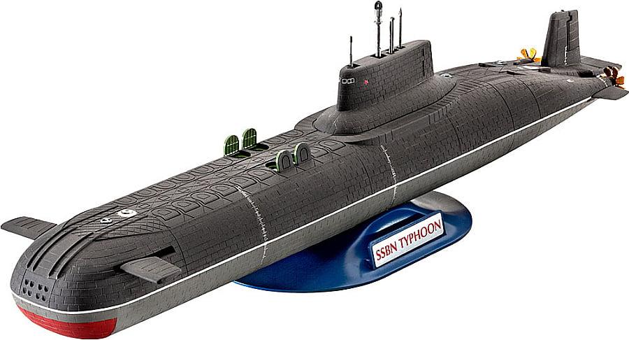 ilustração mostrando os maiores submarinos já construídos, os Typhoons