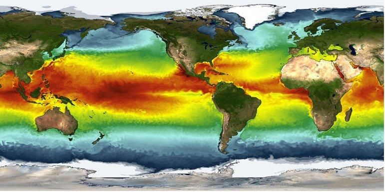 imagem de mapa com temperatura dos oceanos para Satélites ajudam a compreender os Oceanos
