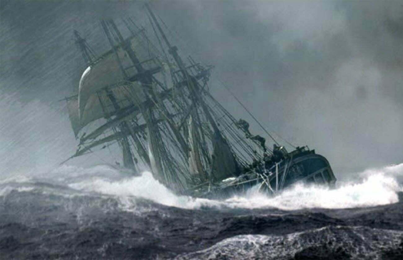 Gravura do navio Bounty em meio a tempestade