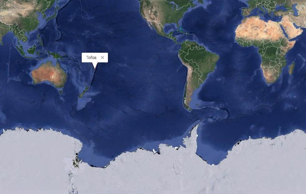 mapa mundi mostrando o Pacífico