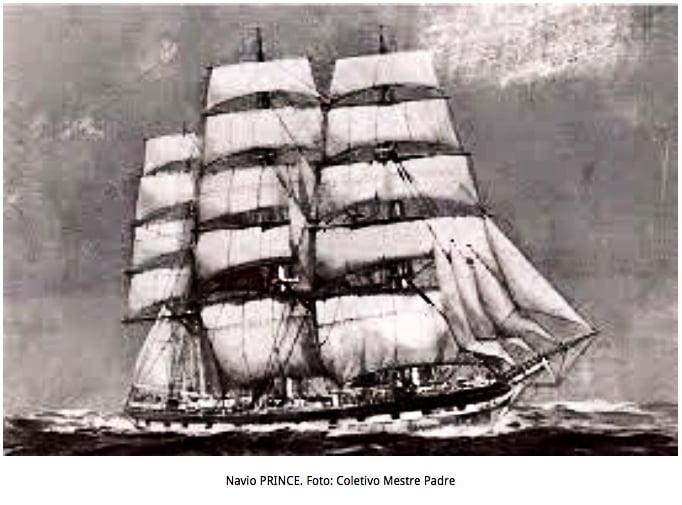 Ilustração da nau Prince que teria naufragado em Natal, RN